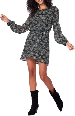 Paige Verona Print Long Sleeve Silk Dress