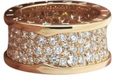 Bulgari B. Zero 1 18K Rose Gold Pavé Diamonds Ring Size 6.5