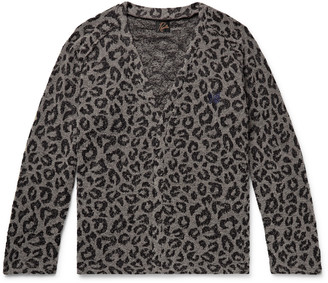 Needles Logo-Embroidered Leopard-Print Boucle Cardigan