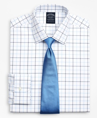 Brooks Brothers Stretch Big & Tall Dress Shirt, Non-Iron Poplin Ainsley Collar Double-Grid Check