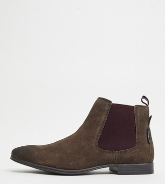 Ben Sherman wide fit chelsea boots in brown suede