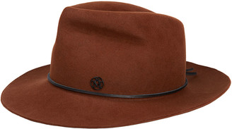 Maison Michel Johnny Rabbit Felt Fedora Hat w/ Leather Band