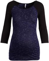 Black & Navy Three-Quarter Sleeve Maternity Raglan Top