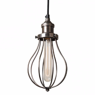 Culinary Concepts Industrial Style Edison Cage Light Pendant Fitting - Silver