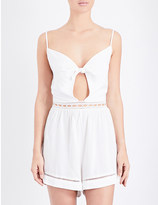 Seafolly Knot-detailed woven playsuit