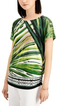 JM Collection Abstract-Print Studded Top, Created for Macy's