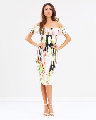 Skiva Off Shoulder Print Midi Dress