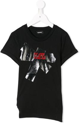 Diesel metallic logo print T-shirt