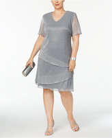 Connected Plus Size Tiered Metallic Shift Dress