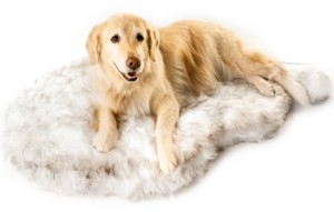 Paw Brands PupRug Faux Fur Orthopedic Dog Bed Curve Giant