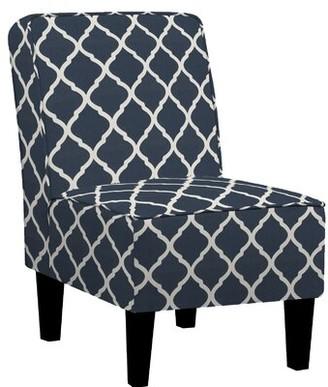 Charlton Home Ferebee Slipper Chair Upholstery Color: Navy Blue and Creamy White Trellis