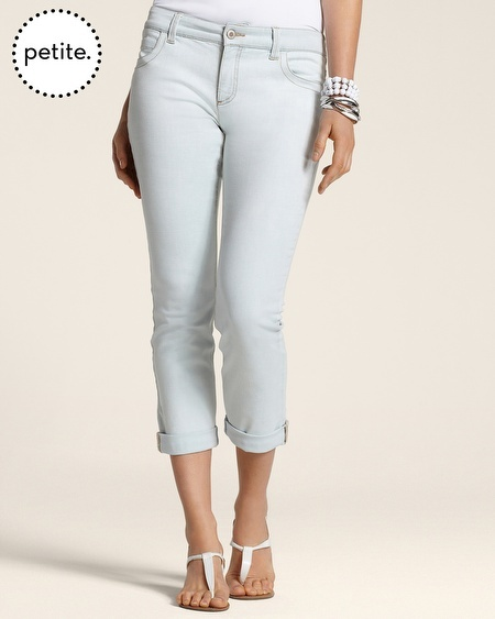 Chico's Petite So Slimming By Bleached Indigo Roll Cuff Crop