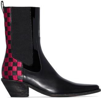 Haider Ackermann checkered panel mid-calf Chelsea boots