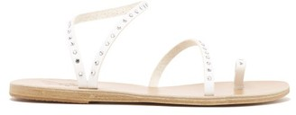 Ancient Greek Sandals Apli Eleftheria Crystal-studded Leather Sandals - White Silver