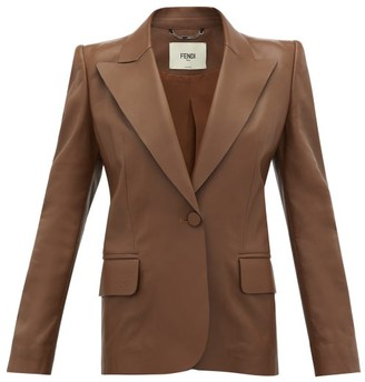 Fendi Exaggerated-shoulder Tailored Leather Jacket - Womens - Brown