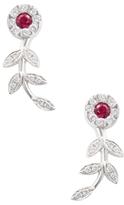 Rina Limor Fine Jewelry 18K White Gold, Ruby & 0.42 Total Ct. Diamond Flower Drop Earrings