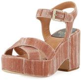 Laurence Dacade Nadine Velvet Platform Sandal, Pink