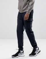 Asos Standard Fit Joggers With Cargo Pockets In Navy