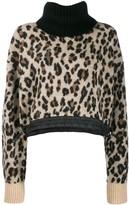 Sacai Leopard Roll Neck Sweater