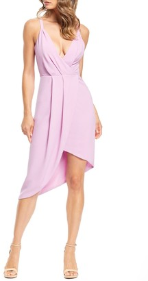Dress the Population Owen Plunge Neck Faux Wrap Dress