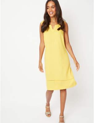 George Yellow Linen Blend Midi Shift Dress