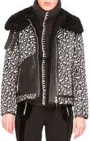 Altuzarra Floral Jacquard Coat w/Shearling Fur Collar, Black/White