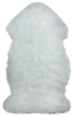Wirtz Furry Chic Plush Pile White Area Rug Mercer41