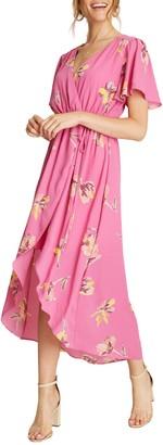 Dee Elly Short Sleeve Floral Print Hi-Low Dress