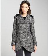 black and white wool blend tweed tulip coat