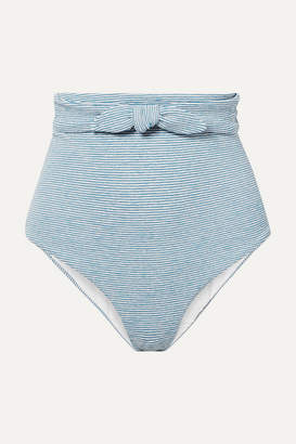 Mara Hoffman Net Sustain Jay Knotted Striped Jacquard-knit Bikini Briefs - Light blue
