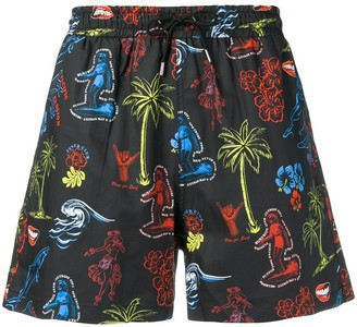 Mcq Swallow Graphic Print Swim Shorts