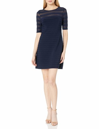 Adrianna Papell Women's Short Sleeve Pintuck Dress with Sheer Neckline