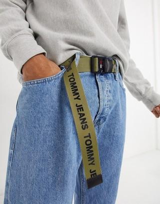 Tommy Jeans logo d-ring belt in khaki