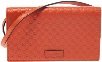 Gucci Orange Microguccissima Leather Flap Clutch Bag