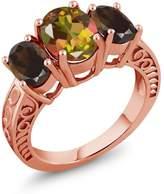 Gem Stone King 3.30 Ct Mango Mystic Topaz Brown Smoky Quartz 18K Rose Gold Plated Silver Ring