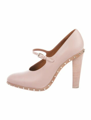 Valentino Mary Jane Rockstud Accents Pumps Pink