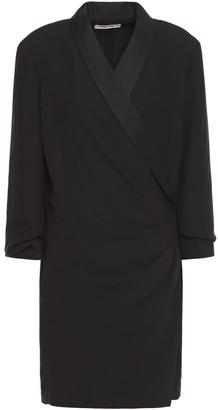 Frame Satin-trimmed Crepe Mini Wrap Dress