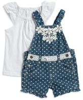 Nannette Baby Girls Heart Print Overalls and Tee Set
