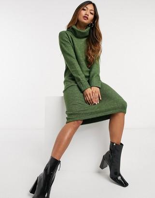 Vero Moda jumper dress with roll neck in khaki
