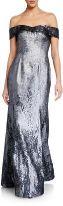 Rene Ruiz Collection Off-the-Shoulder Metallic Jacquard Mermaid Gown