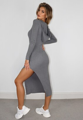 Missguided Grey Hooded Midaxi Dress