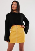 Missguided Mustard Faux Suede Buckle Detail Mini Skirt