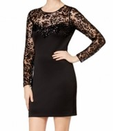 GUESS Black Women's 2 Long Sleeve Lace Trim Sequin Sheath Dress