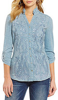 Reba Anesia Mandarin Collar Roll-Tab Sleeve Embroidered Woven Knit Top