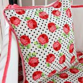 Caden Lane Girly Coral Rose Square Throw Pillow