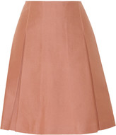 Jill Stuart Vika pleated cotton and silk-blend skirt