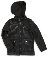 Urban Republic Boy's Quilted Sleeve Zip-Front Hooded Jacket