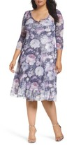 Komarov Plus Size Women's Mixed Media A-Line Dress