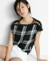 Express Plaid Lace-up Shoulder Tee