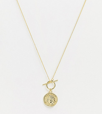 Shashi coin t-bar necklace in gold plate
